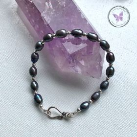 Black Pearl Silver Bracelet